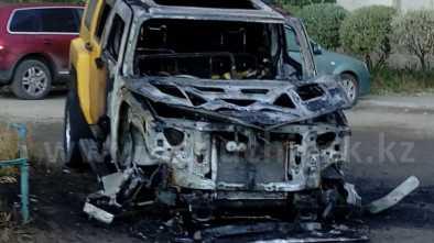 У жительницы Щучинска сгорела машина