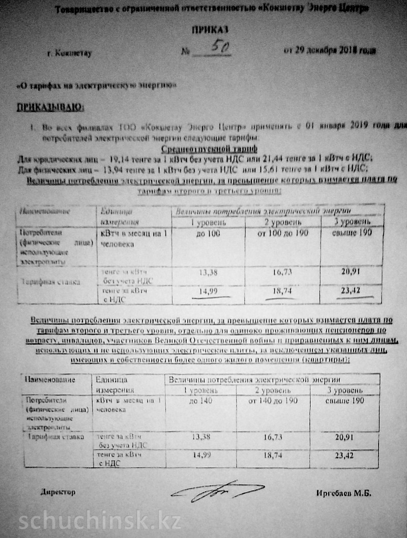 Щучинск тарифы на электроэнергию ТОО Восток Энерго