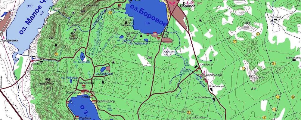 Боровое карта