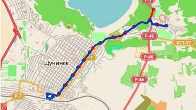 Маршрут автобуса 1 на карте Щучинска