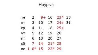 Календарь на Март 2020 года в Казахстане